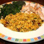 Kerrierijst met spinazie en kip