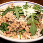 Pasta met pancetta en champignons