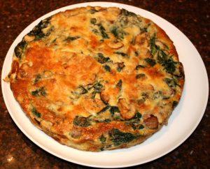 frittata met spinazie, frittata, spinazie, champignons, recept, recepten, hoofdgerecht, hoofdgerechten, ei, eieren, Italiaans, mediterraan, vegetarisch, ovenschotel