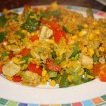 Rijst met kip en paprika
