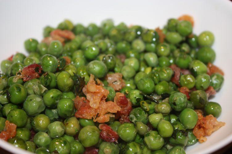Doperwten met pancetta en munt; recept; recepten; bijgerecht; doperwt; doperwten; pancetta; munt
