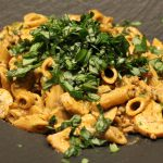 Pasta met gehakt en champignons