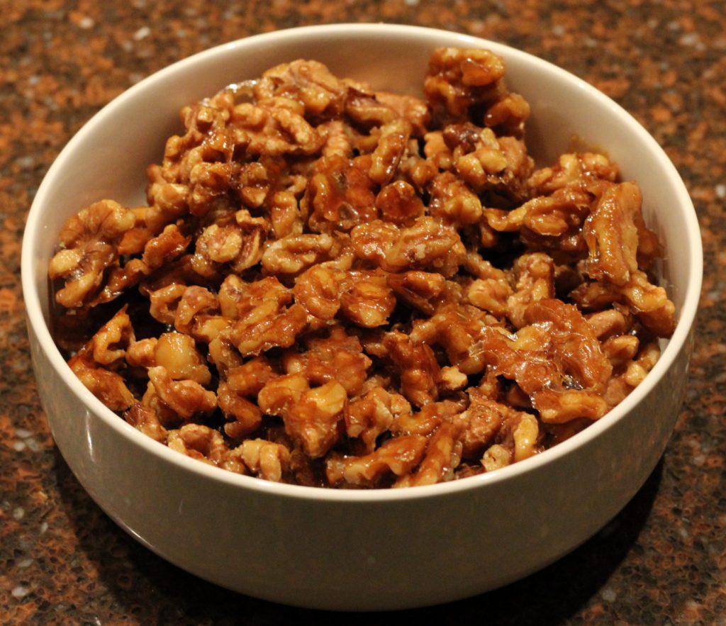 Gekarameliseerde walnoten; recept; recepten; walnoot; ahornsiroop; oven